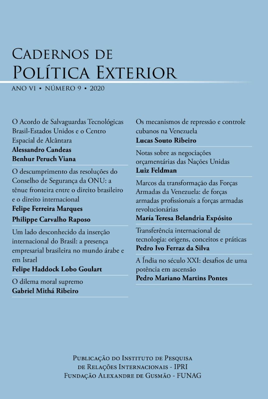 Cadernos de Política Exterior – ano 6 . nº 9