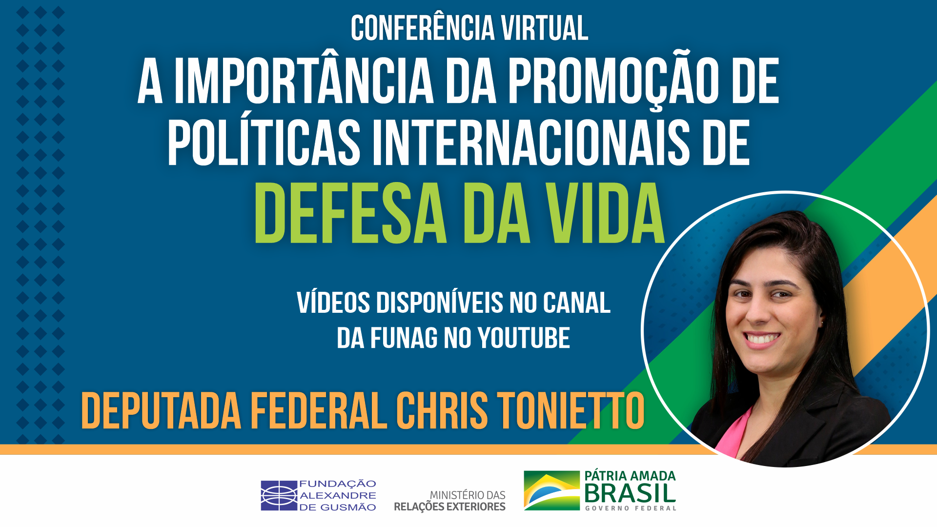 """Assista aos vídeos da conferência """"A importância da promoção de políticas internacionais de defesa da vida"""", com a deputada federal Chris Tonietto"""