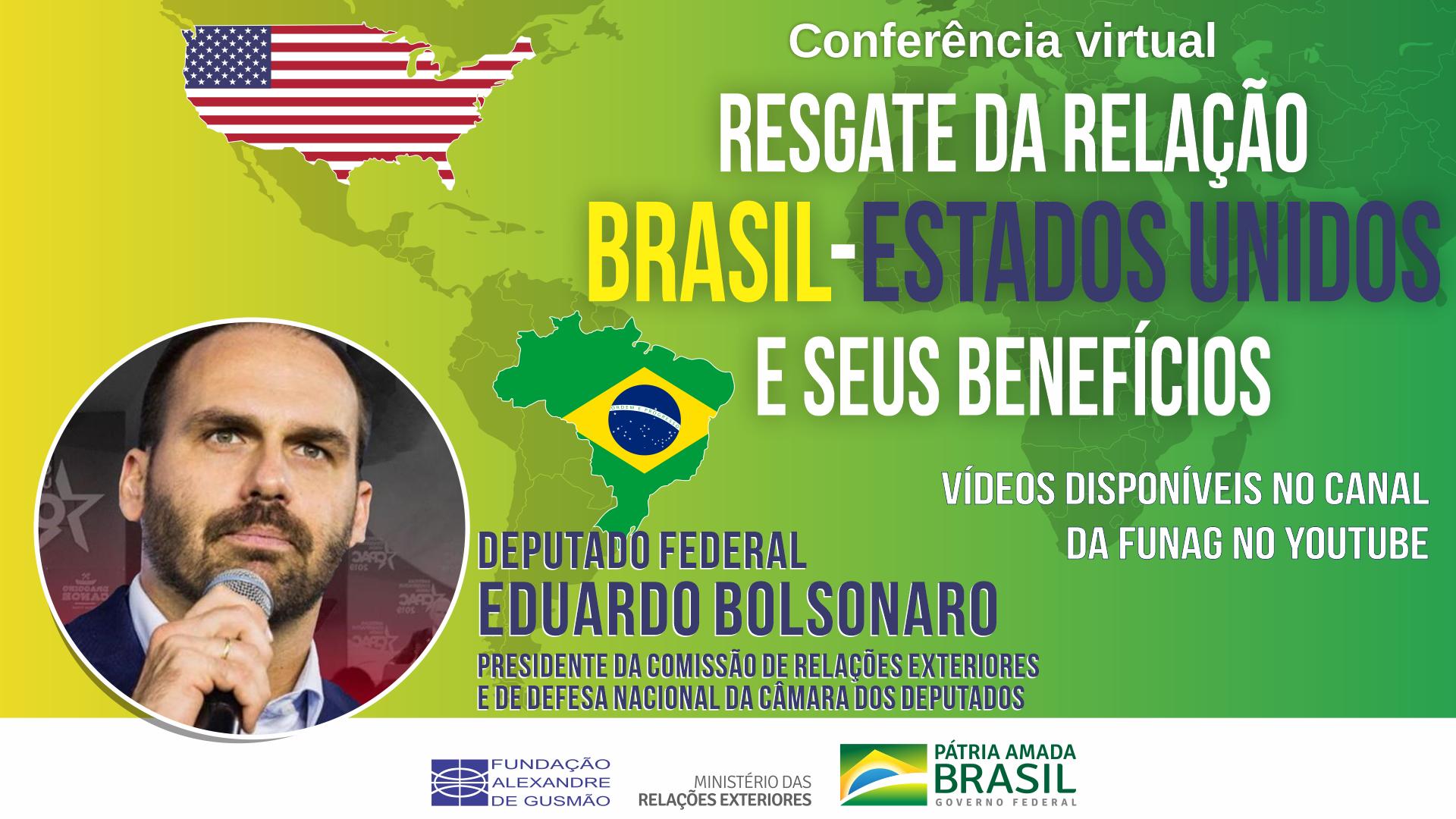 Assista aos vídeos da conferência do deputado federal Eduardo Bolsonaro sobre o resgate da relação Brasil-Estados Unidos