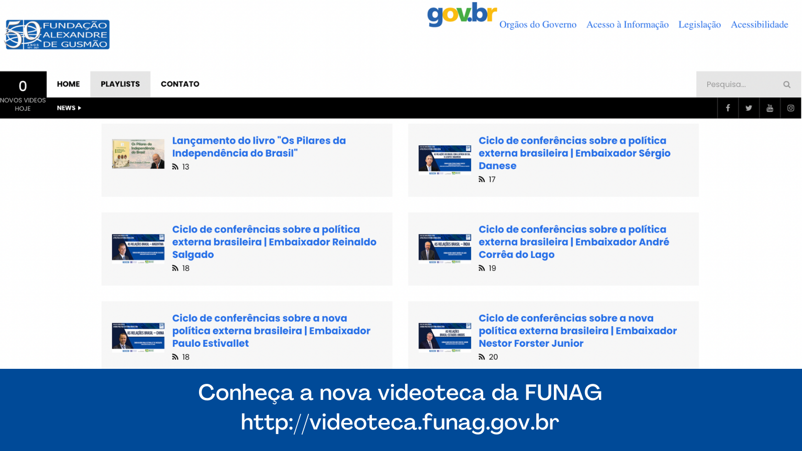 FUNAG lança nova videoteca